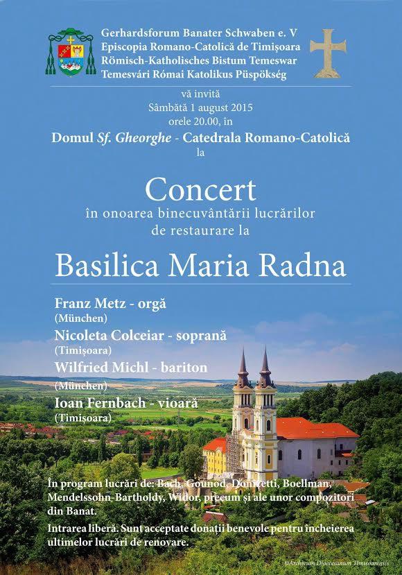 Concert in onoarea binecuvantarii lucrarilor de restaurare la Basilica Maria Radna