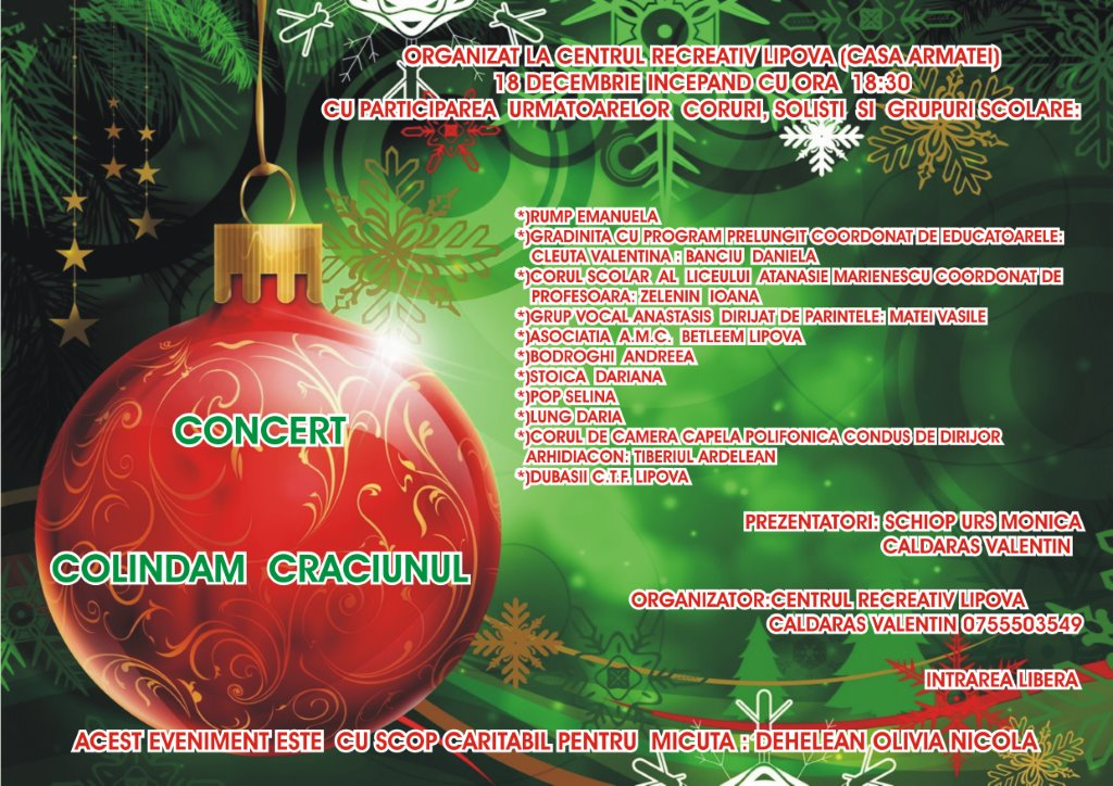 Centrul Recreativ Lipova organizeaza un concert caritabil