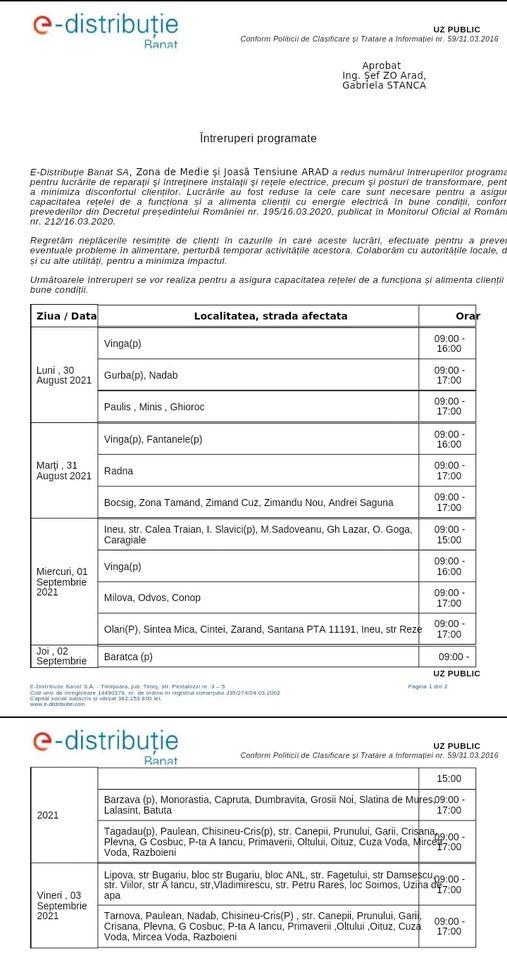 INFORMARE,       privind întreruperi de energie electrică în Orașul Lipova , în zilele de marți- 31.08.2021 și vineri - 03.09.2021, aduse la cunoștința publică de către E-Distribuție Banat SA. ▶️ Întreruperile de energie electrică, vor avea loc pe mai multe străzi din zone diferite ale Orașului Lipova și Radna,  conform programului și intervalelor orare prezentate în anunțul publicat.